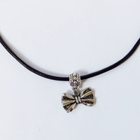 Cute little Bow Tie Choker with genuine leather and adjustable clasp