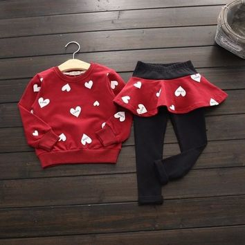 Baby Kids Girls Heart Printed Long Sleeve Sweatshirt & Leggings Set