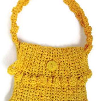 HANDMADE Mini Bright Yellow Crochet Women's Girls Handbag