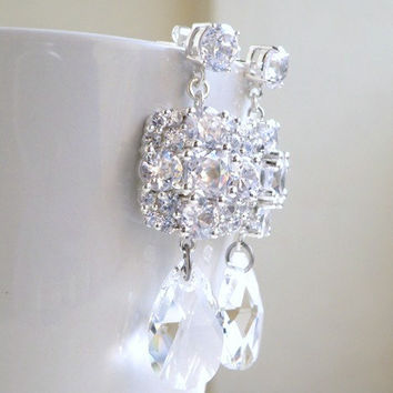 Bridal Earrings Ivanka Trump Swarovski Crystal Teardrop CZ Chandelier Earrings Stud Wedding Jewelry