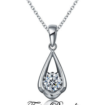 Shop diamond pendant necklace 1 carat on wanelo 1 carat round cut man made diamond pendant in drop design brida aloadofball Image collections