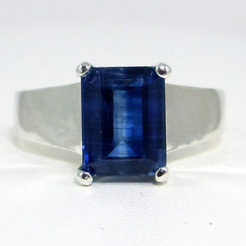 Emerald Cut Kyanite Ring Sterling Silver, Blue Kyanite Ring, Thick Sterling Silver Ring, Blue Gemstone Ring, 925 Sterling Silver Ring