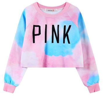 Victoria Secret Love PINK Crop Top Women Long Sleeve Casual Wear
