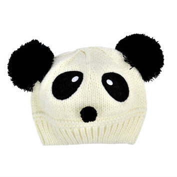 New Fashion Cute Panda Pattern Baby Love Dual Ball Toddler Girls/Boys Wool Knit Sweater Cap Hat