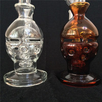 2015 Skull Style Glass Bongs Water Pipes Bongs Oil Rigs Smoking Pipes Pure and Amber Color Bongs With Honey Bucket 18.8mm Joint