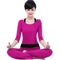 Yoga suit set spring and summer new three-piece blue pink rose red lady yoga clothes