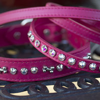 Solid Crystal Leather Leash