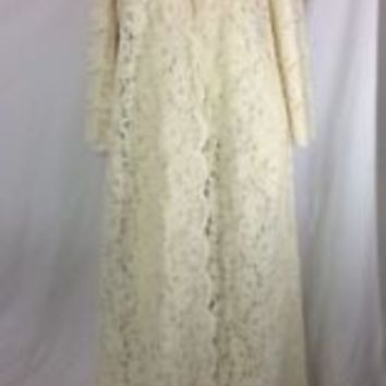 Vintage Miss Elaine Peignoir Robe Only Lovely Lace Champagne Medium Style5/25B