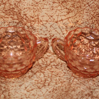 Two Stunning Pink Jeanette Glass Sugar Bowls -  Cube Cubist Depression Glass Pattern  1929-1933