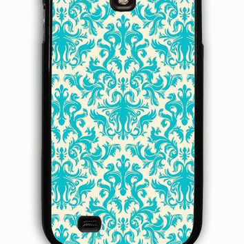 Samsung Galaxy S4 Case - Hard (PC) Cover with Turquoise and Cream Damask Plastic Case Design