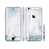 The Teal and White WaterColor Panel Sectioned Skin Series for the Apple iPhone 6