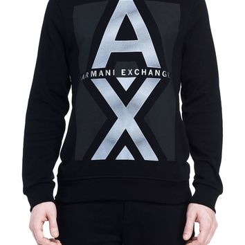 Reflective Logo Hooded Tee - Hoodies - Mens - Armani Exchange