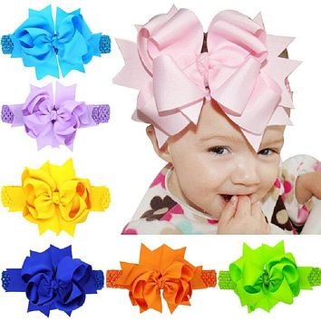 Oversized 8 inch Double Layered Bow with Sheer Top Layer clipped to Crocheted Headband Large bow Flower girl headband 1pc HB178