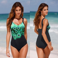Sexy Printed Bodycon Bikini Beach Swimwears One Piece Swimsuits Backless Conservative Bathing Suits [9222222020]