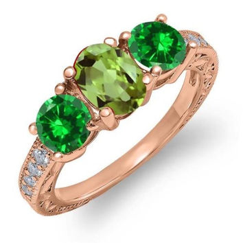 2.60 Ct Green Peridot Green Simulated Emerald 18K Rose Gold Plated Silver Ring
