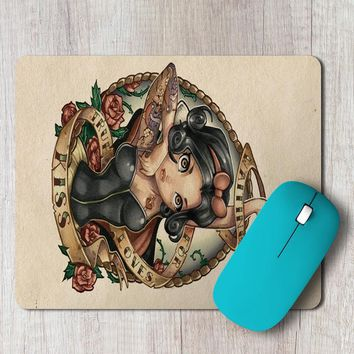 Rectangle Mouse Pad Snow White Tattoo Vintage Art