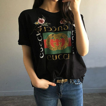 GUCCI Fashion loose embroidery roses print short T-shirt