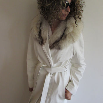 Vintage Full Length White Leather with Fur Collar Trench Coat