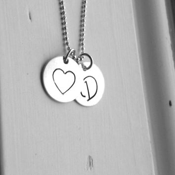 Sterling Silver Initial Necklace, Heart Necklace, Monogram Necklace, Custom Charm Necklace, Personalized Jewelry, Letter D Necklace