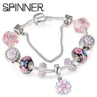 SPINNER Cherry Blossoms Crystal Charm Bracelets for Women With Murano Beads fit Pandora Bracelets&Bangles Femme DIY Jewelry