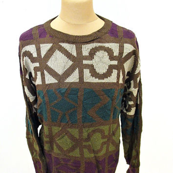 Vintage 80s Sergio Aztec Pattern Geometric Shapes Sweater Jumper L