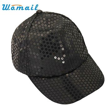 Womail Women Baseball Cap Sequins Hip Hop Cap Fashion Adjustable Womens Hats Casual Snapback Solid Color 2017  #20 Gift 1pc
