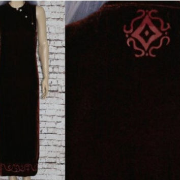 90s Maxi Dress Burnout Velvet Mandarin Collar Bodycon Ethnic Tribal Wine Red Boho Grunge Hipster Festival Hippie Goth Witchy Burgundy M L