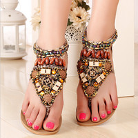 beads Roman style hollow out flat sandals