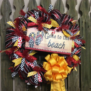 On Sale Summer Wreath Front Door, Beach House Flip Flop Wreaths, Front Door Hanger Wall Decor