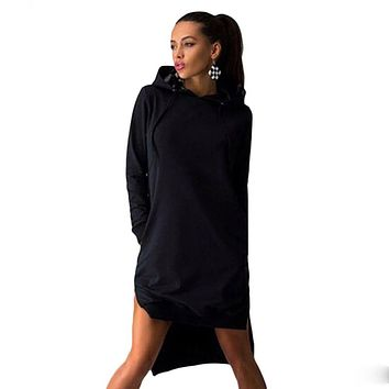 Women Long Waist Slim fit Pullover Hoodie Dress with Pockets