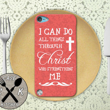 I Can Do All Things Through Christ Who Strengthens Me Pink Custom Rubber Case iPod 5th Generation and Plastic Case For iPod 4th Generation