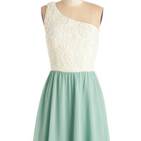 ModCloth Pastel Mid-length One Shoulder A-line Where the Delight Is Dress