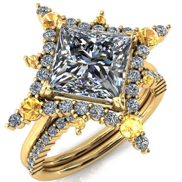 Thalim Princess/Square Moissanite 4-Point Star Yellow Sapphire and Diamond Halo Ring