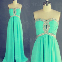 Rhinestones Bright Turquoise A-line Sweetheart Neckline Sweep Train Prom Dress/Graduation Dress
