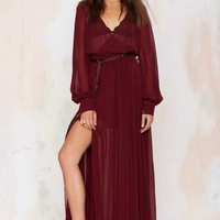 Go Your Own Way Chiffon Dress - Oxblood