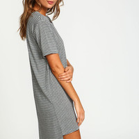 GREY PENCIL STRIPES JERSEY DRESS