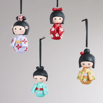 Clay Kokeshi Doll Ornaments, Set of 4