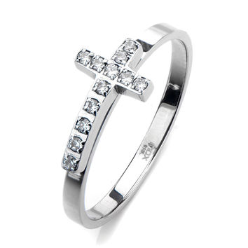 Inox 316L Stainless Steel Cubic Zirconia Cross Ring