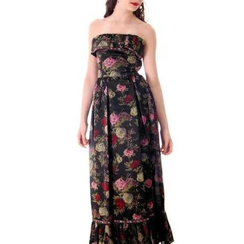 Vintage Tina Leser Strapless Gown Black Floral  Maxi 1960s Small