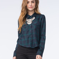 Full Tilt Womens Tartan Plaid Shirt Blue  In Sizes