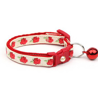 Floral Cat Collar - Red Tea Party Roses on Cream - Small Cat / Kitten Size or Large Size