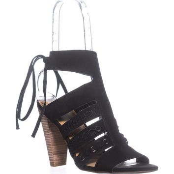 Lucky Brand Radfas Lace-Up Sandals, Black, 7.5 US