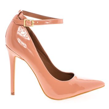 Leon Tan Patent By Shoe Republic, Women's High Heel Pump w/ Pointed Close Toe & Ankle Straps