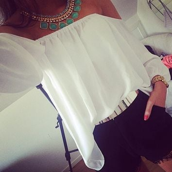 White Off Shoulder Sleeve Chiffon Blouse