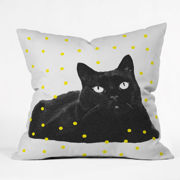 Elisabeth Fredriksson A Black Cat Throw Pillow