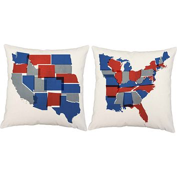 Americana Reds and Blues USA Map Throw Pillows