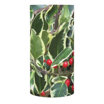 Holiday Holly Berry Photo Flameless Candle