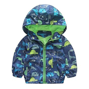 Spring Autumn Toddler Kids Baby Boy Jacket Coat Hooded Long Sleeve Animal Printed Outerwear Windbreaker Baby Boy Clothes