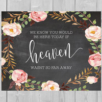 Printable Heaven Chalkboard Sign - We Know You Would Be Here Today if Heaven Wasnt So Far Away Sign Floral Watercolor Flowers Pink Wedding