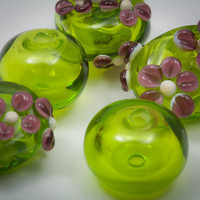 Lime Green and Lavender Hollow Lampwork Glass Bead Set